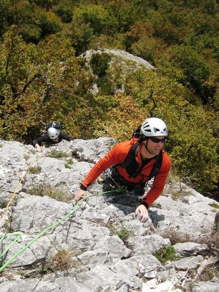 Matt (and Jon below) coming up the first pitch of Pilier de Nugues