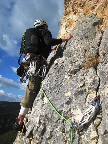 Jon just off the p1 belay on Pilier de Nugues.