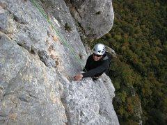 Rock Climbing Photo: Jon on p4 of Pilier de Nugues