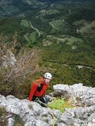 Rock Climbing Photo: Matt on belay at the top of p5 of Pilier de Nugues