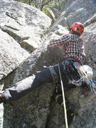 Rock Climbing Photo: Nate Ricklin leading P3 on the first ascent.