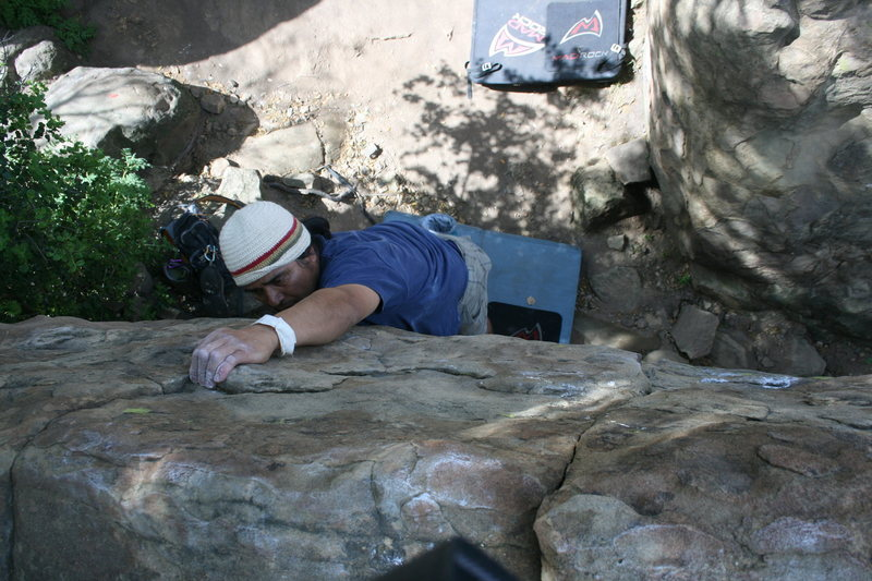Rock Climbing Photo: Albert climbing in the shade of the Canyon Boulder...
