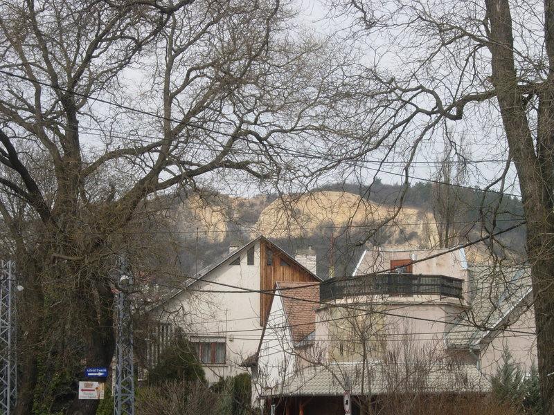 Róka Hegy quarry as seen from the HÉV stop at Csillaghegy.  Follow the Ürömi út up the hill to reach the crag.