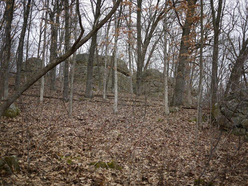 Rock Climbing Photo: The rock alcove (B3 on Travis' map).