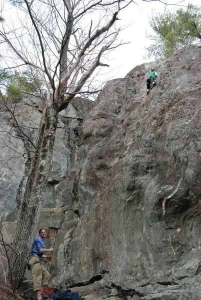 Rock Climbing Photo: Erik belaying Allie on her first 5.9.