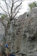 Rock Climbing Photo: Erik belaying Allie on her first 5.9.
