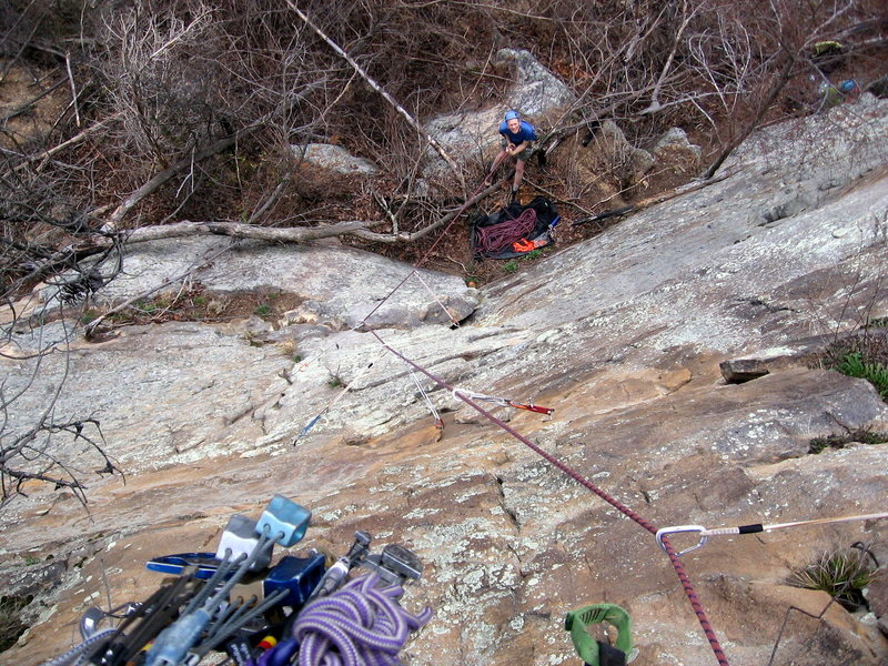 Rock Climbing Photo: Looking down the route from the top after the FA.
