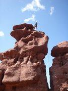 Rock Climbing Photo: Tristan Hechtel atop Carson's Tower