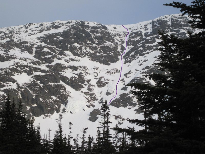 Yale Gully - follow the purple line.<br> <br> Partially visible to the left is Diagonal Gully, a long snow route which makes for a convenient and fast downclimb back the floor of the ravine