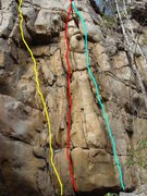 Rock Climbing Photo: Little Maggie left, Barts Crack middle, Bart Direc...