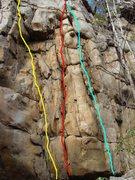 Rock Climbing Photo: Little Maggie left, Barts Crack middle, Bart Direc...