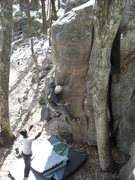 Rock Climbing Photo: Langlois locking down on the crimp.