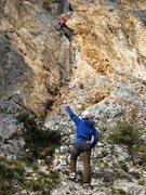 Rock Climbing Photo: Fissure at Tina Dalle.  Josh belays while Matt sen...