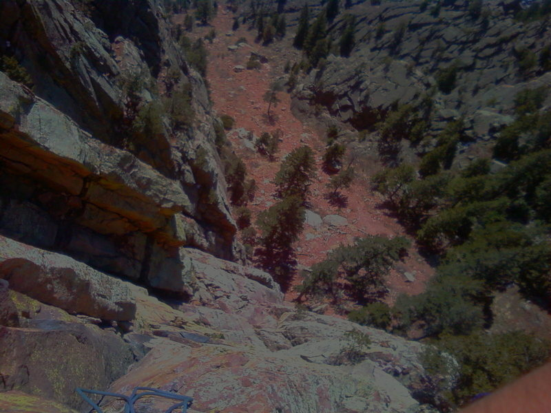 looking down from the green spur
