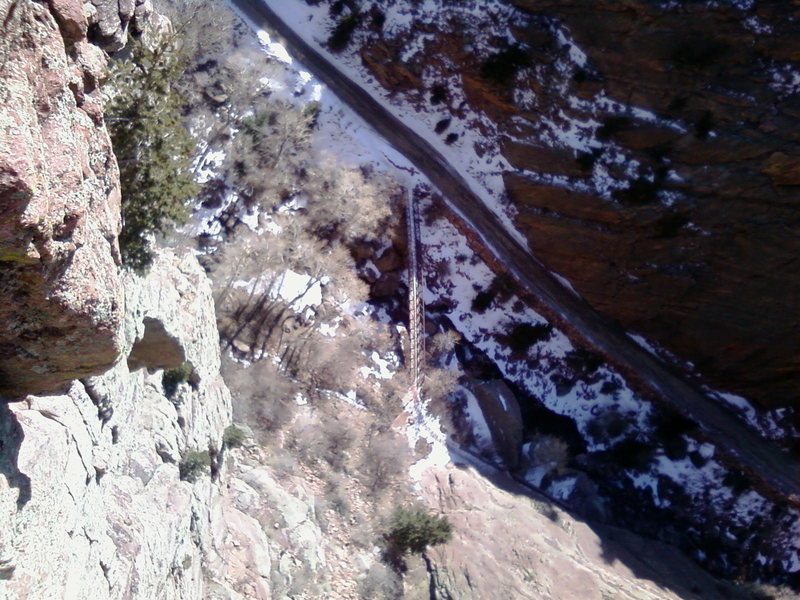 Rock Climbing Photo: looking down on the bridge from colipso