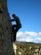 Rock Climbing Photo: Josh on Bataille Trop Sûre