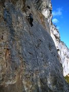 Rock Climbing Photo: Josh ever skyward on Bataille Trop Sûre