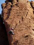Rock Climbing Photo: Geir flies up pitch two as the sun begins to set o...