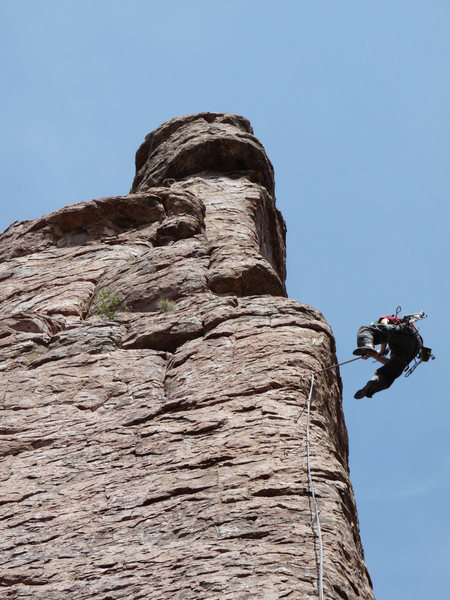 Rock Climbing Photo: Mike Dudley verifying integrity of the bolts!