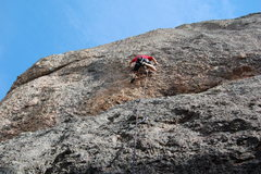 Rock Climbing Photo: Working over the crux bulge.