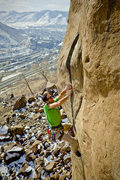 Brett Merlin on Bone Crusher, 5.12+.
