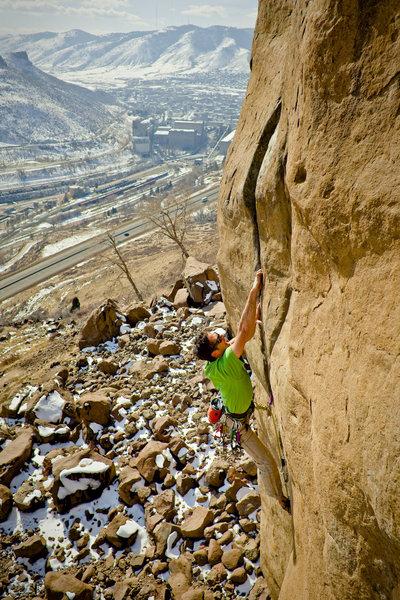 Rock Climbing Photo: Brett Merlin on Bone Crusher, 5.12+.