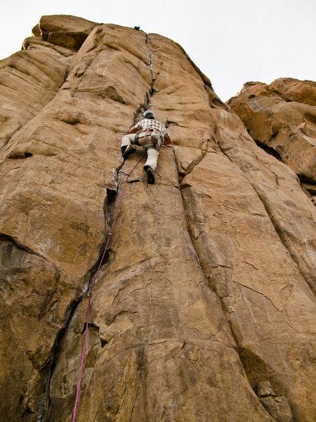 Rock Climbing Photo: Joel on Bone Crusher, 5.12+.