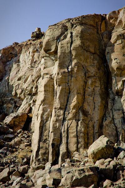 Rock Climbing Photo: Bone Crusher up the center.