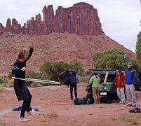 Rock Climbing Photo: Slackline, with Bridger Jack Mesa, and the late Mi...