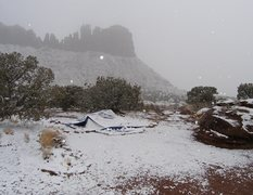Rock Climbing Photo: The tent did not survive this fall storm