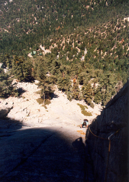 Rock Climbing Photo: Looking down Pitch 2, Mark Goss coming up.