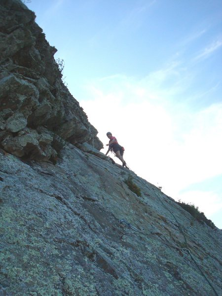Rock Climbing Photo: Floyd Hayes traversing below the roof of pitch 3. ...