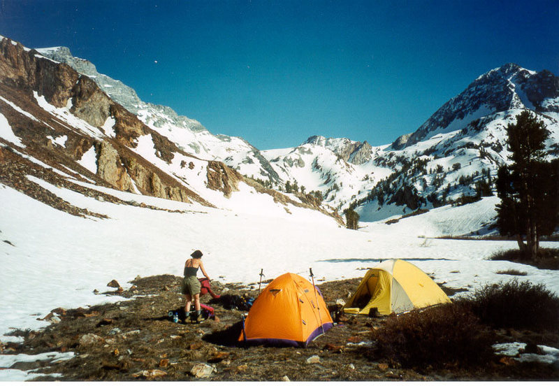 Rock Climbing Photo: Camp on dry land, past Mildred Lake. Red Slate Mou...