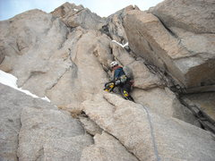 Rock Climbing Photo: First pitch of Right Gully.