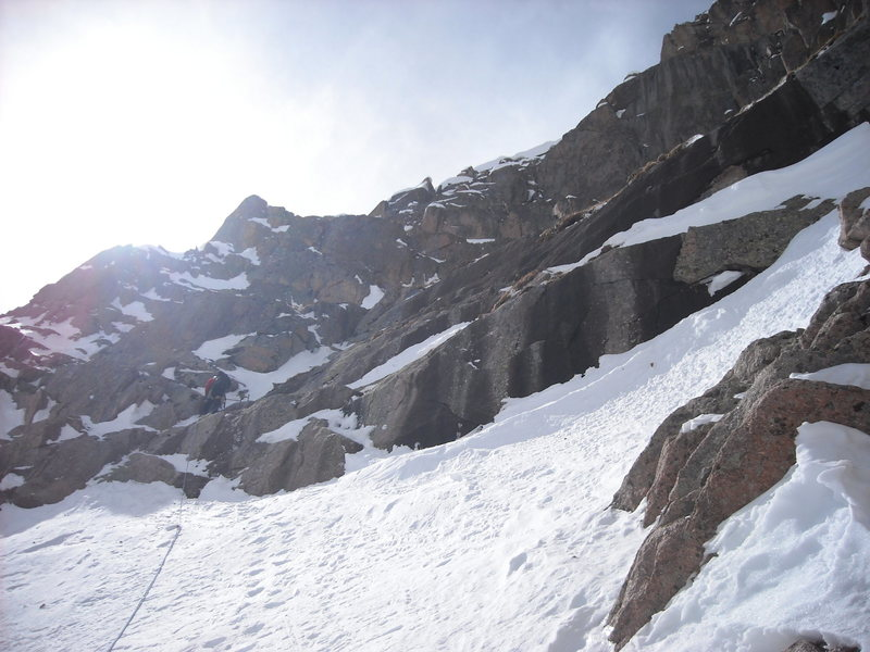 Rock Climbing Photo: Gil leading typical mixed snow and rock terrain.