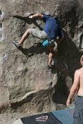 Rock Climbing Photo: Albert working on Undercling V0+.     3-20-10