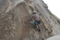 Rock Climbing Photo: Nathan top rope variation on the Varnished Wall.  ...