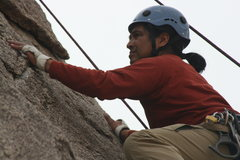 Rock Climbing Photo: Looking for that next hold on the Varnished Wall. ...