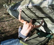 "Rock Climbing Photo: Shane Messer on ""O.A."" (V-7+) on the cap..."