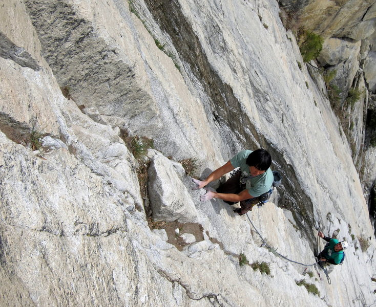 Cool guys from LA cruising the start of P5.  Notice the line of water on climbers' right - not a great early spring route.