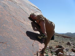 Rock Climbing Photo: Handsome Man pressing out the mantle.