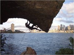 Rock Climbing Photo: Not that good, but a killer position.  Kate cranki...