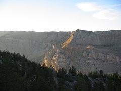 Looking across Shoshone Canyon at Rattlesnake Mtn. from the Cedar Mtn. boulder gardens.