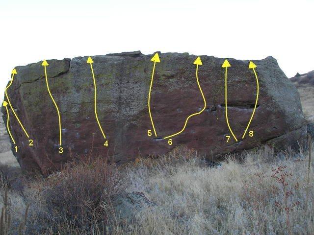 Rock Climbing Photo: 1 - Purity Control, V10. 2 - Black Heart, V9. 3 - ...