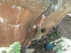 Rock Climbing Photo: Tyson starting the prob.