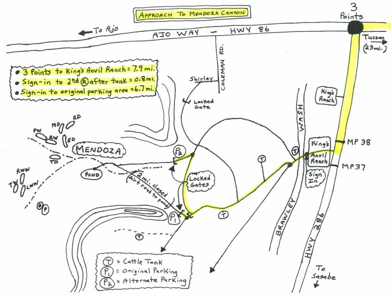 Approach Map to Mendoza Canyon<br> (~41 miles//1 hr. 15 min. from Speedway/Campbell in Tucson)