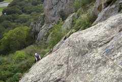 Rock Climbing Photo: Cheri Ermshar cleaning Look Ma No Hands. Photo fro...