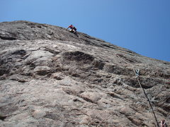 Rock Climbing Photo: Floyd Hayes at the crux of The Fat Man. Photo by C...
