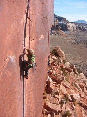 Rock Climbing Photo: A very serious 8 year old in action.