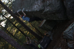 Rock Climbing Photo: Eric being spotted by Rich at the Jesus Boulder!!!